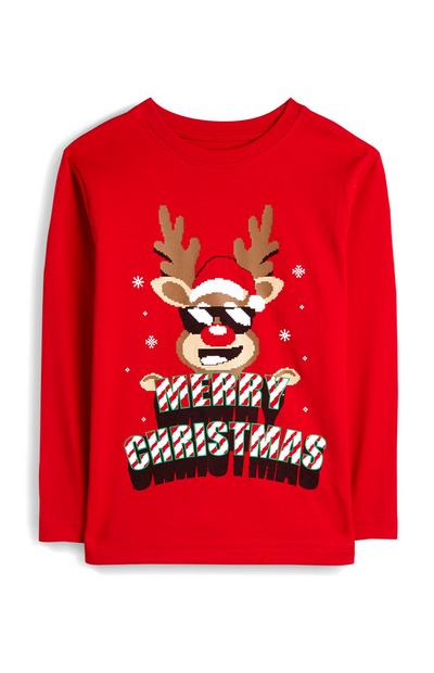 Younger Boy Red Long Sleeve Reindeer Tshirt