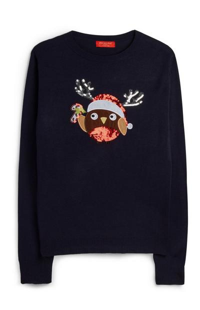 Sequin Robin Christmas Jumper
