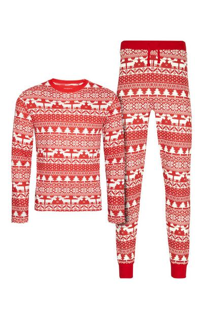 Rot gemustertes Pyjamaset