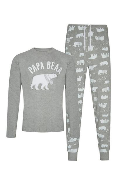 Papa Bear Grey Pyjamas