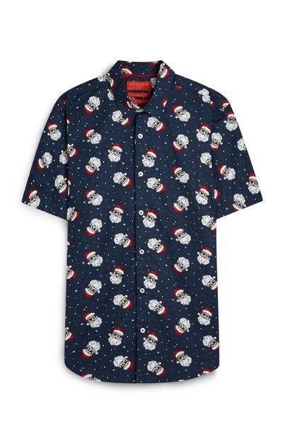 Navy Santa Claus Christmas Shirt