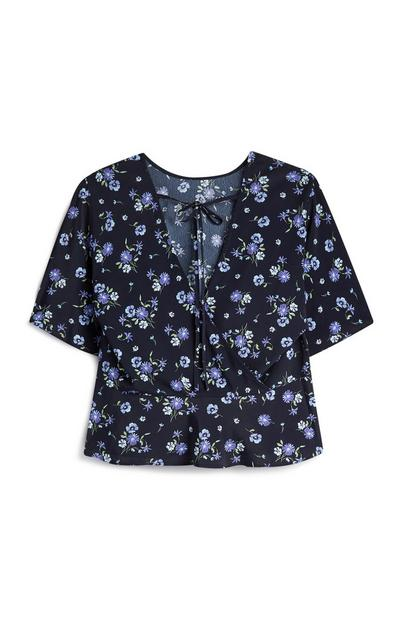 Navy Floral Angle Sleeve Top