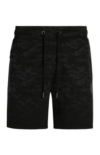 Black Camo Print Shorts