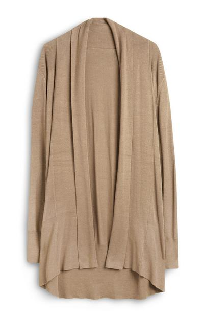 Camel Casual Draped Cardigan