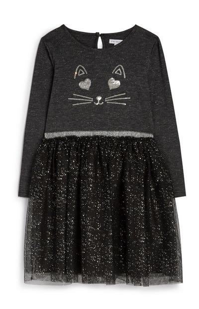 Younger Girl Cat Tulle Dress