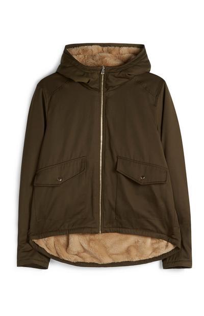 Khaki Jacket With Faux Fur Lining