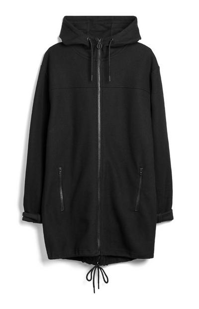 Black Longline Fishtail Parka Jacket