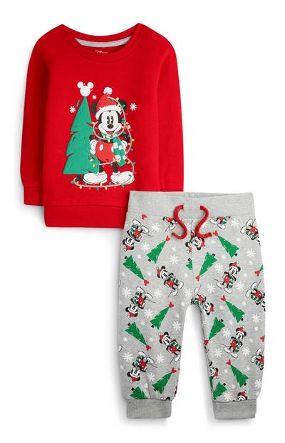 Baby Boy Red Mickey Mouse Christmas Jumper and Jogger Set
