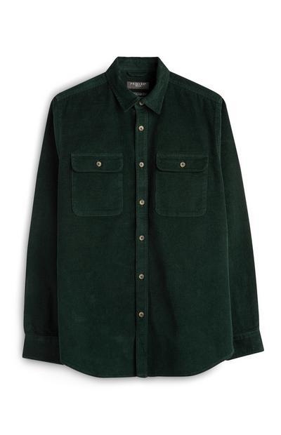 Green Regular Fit Button Up Corduroy Shirt