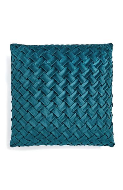Teal Braided Velvet Cushion