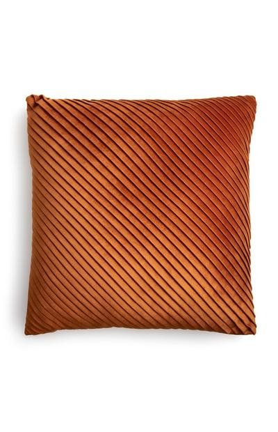 Orange Velvet Small Pleated Cushion