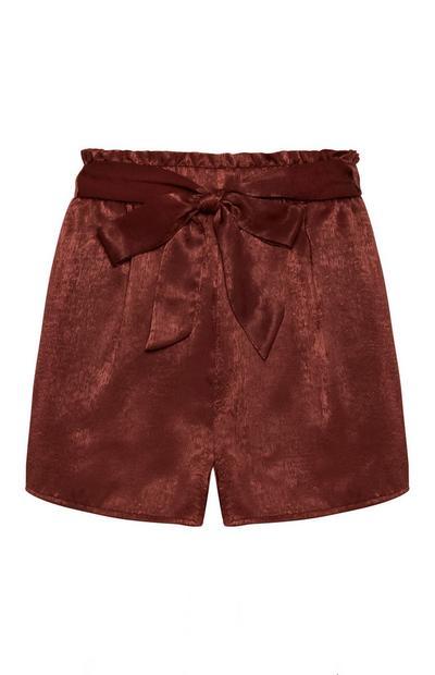 Brown Satin Shorts