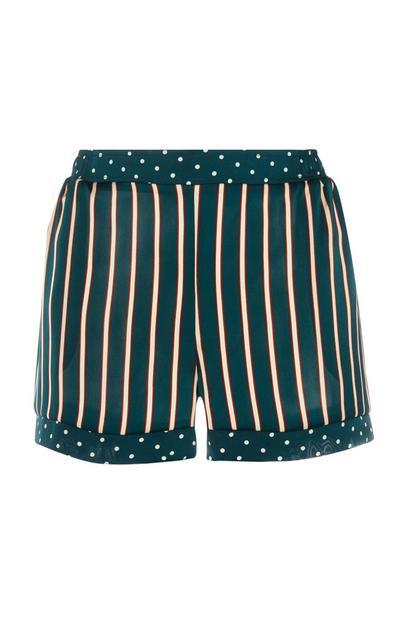 Green Satin Stripe Shorts