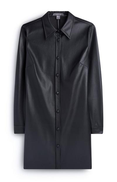 Black Pu Shirt Dress