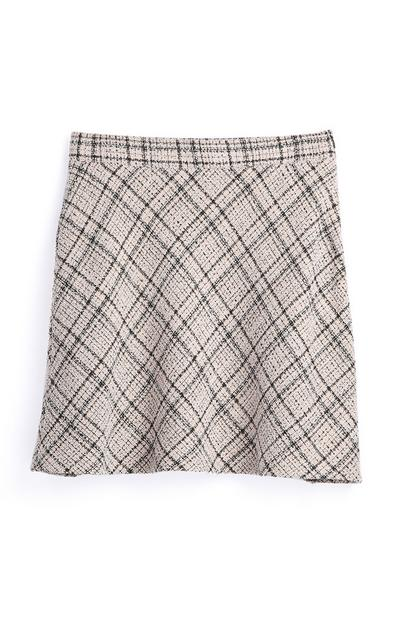 Camel Check Skirt