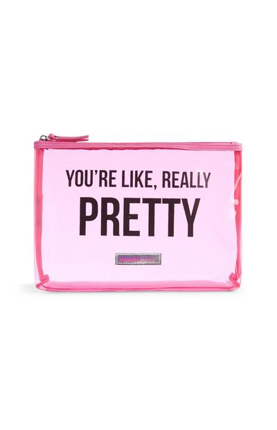 Clear Pink Makeup Bag