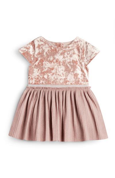Baby Girl Pink Velvet Dress