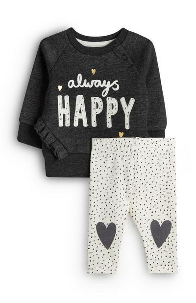 Baby Girl Always Happy Dark Grey Jumper And White Leggings