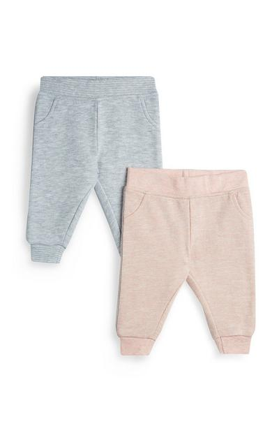 Baby Girl Grey And Pink Joggers 2Pk