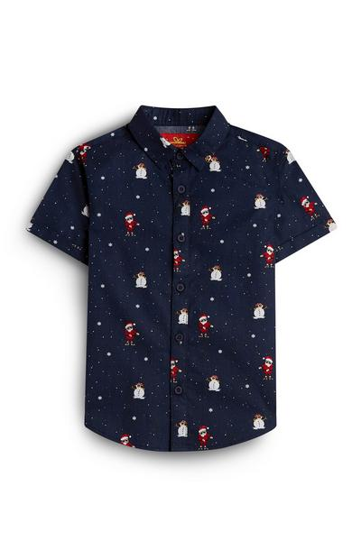 Younger Boy Navy Santa Claus And Snowman Flossing Shirt