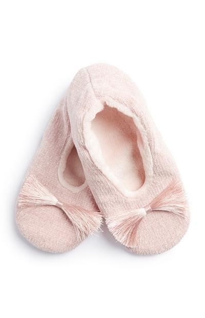 Pink Tassel Front Slipper Sock