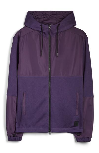 Purple Zip Up Knitted Hoodie