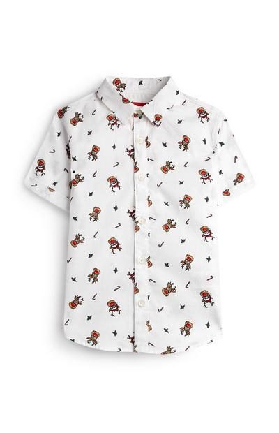 Younger Boy White Christmas Reindeer Shirt