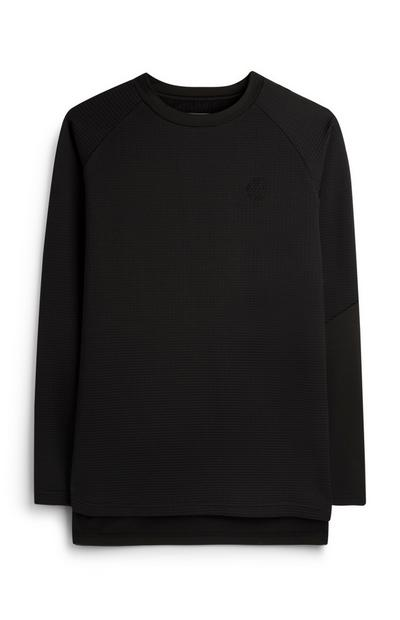 Black Textured Finger Print Logo Jumper