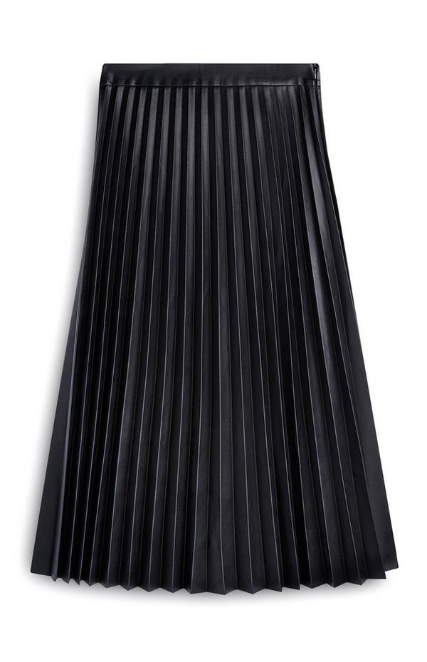 Black Pu Pleated Midi Skirt
