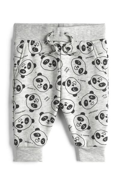Baby Boy Grey Panda Print Joggers