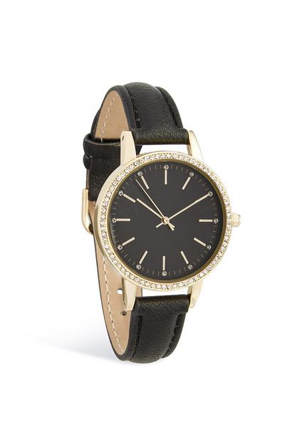 Diamante Face Black Wrist Watch