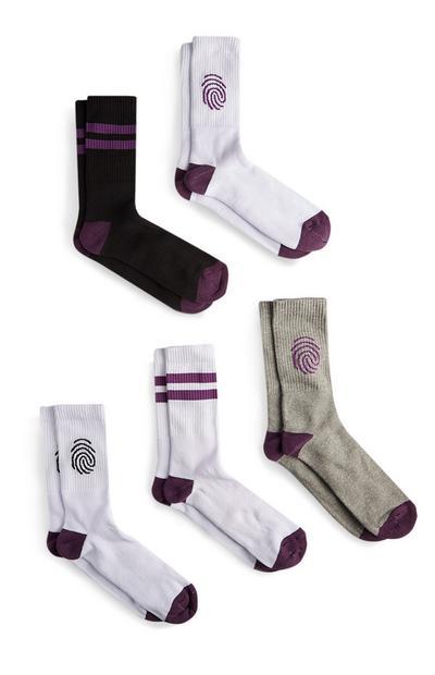 Finger Print Sport Socks 5Pk