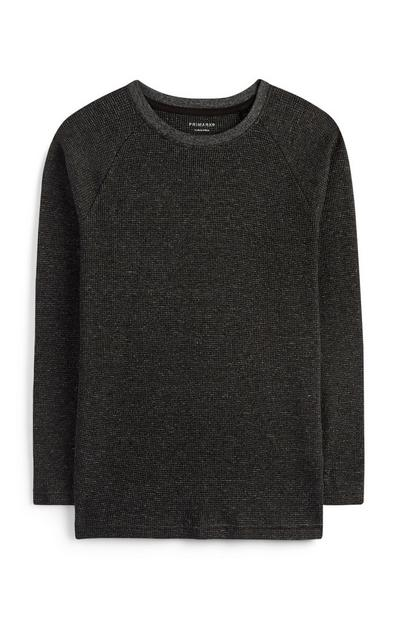 Older Boy Black Textured T-Shirt