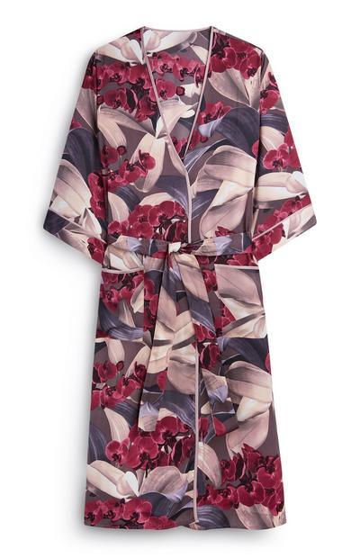 Satin Floral Robe