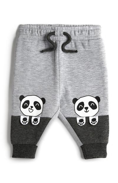 Baby Boy Grey Two Toned Panda Joggers