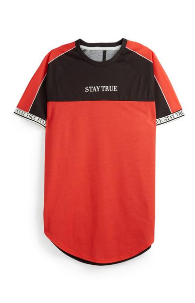 Red Slogan Colour Block T-Shirt