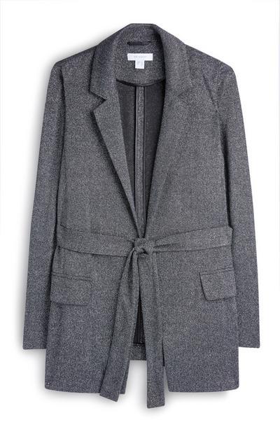 Silver Lurex Belted Blazer Jacket
