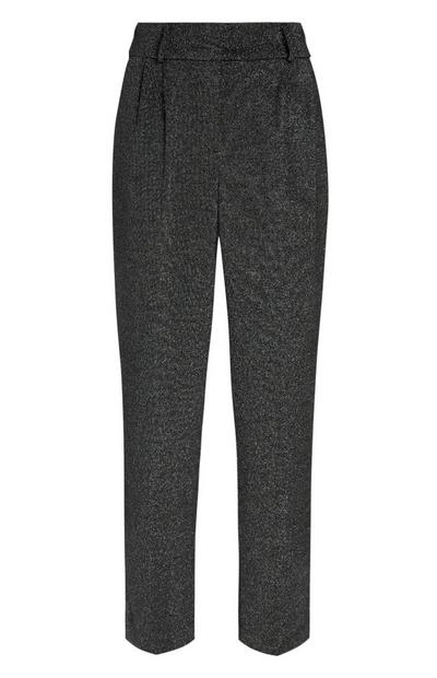 Silver Lurex High Waisted Peg Leg Trouser