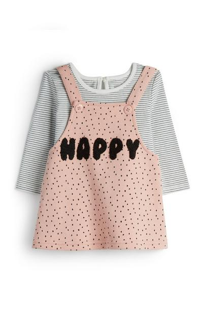 Baby Girl Pink Happy Pinafore Dress With Striped T-Shirt