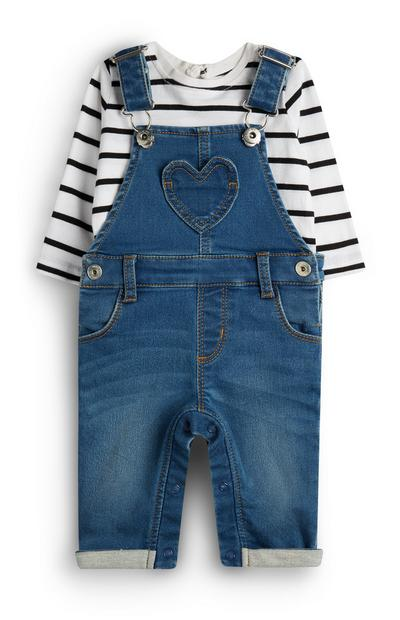 Baby Girl Denim Dunagree With White Striped T-Shirt
