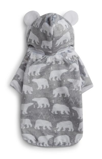 Grey Polar Bear Dog Outfit With Ears