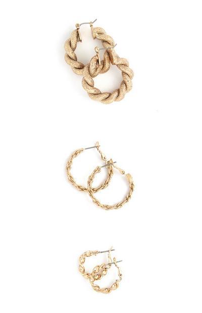 Chunky Twist Three Size Hoop Earrings 3Pk