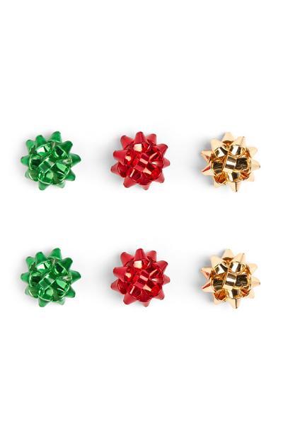 Christmas Bow Earrings 3Pk