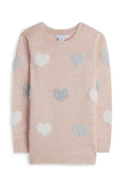 Younger Girl Blush Fluffy Heart Print Jumper