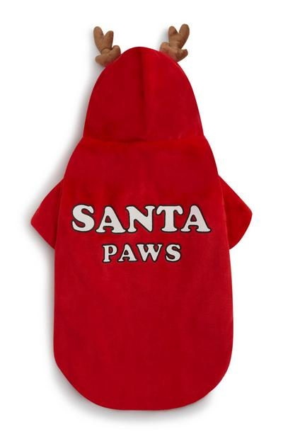 Red Santa Paws Dog Outfit With Reindeer Antlers