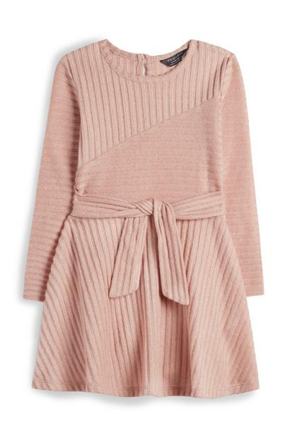 Younger Girl Blush Ribbed Dress With Belt