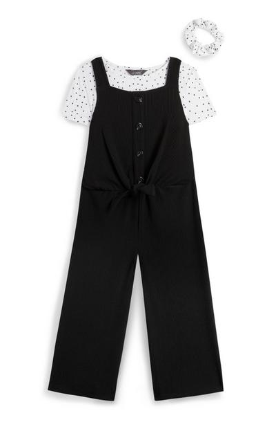 Younger Girl Black Two In One Pina And Polka Dot Shirt With Scrunchie