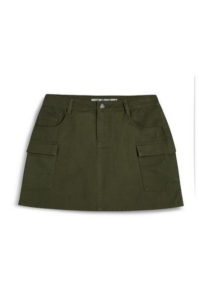 Older Girl Khaki Cargo Skirt