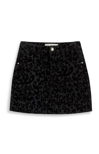 Older Girl Black Leopard Print Denim Skirt