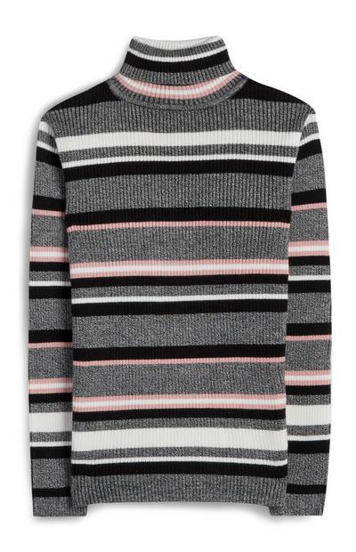 Older Girl Grey Roll Neck Striped Jumper
